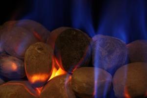 A gas fireplace